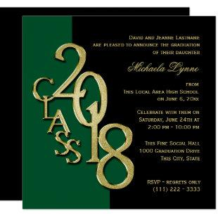 Class of 2018 Elegant Gold and Green Invitation