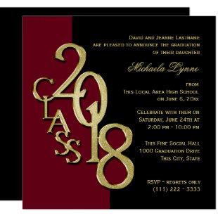 Class of 2018 Grad Burgundy and Gold Invitation