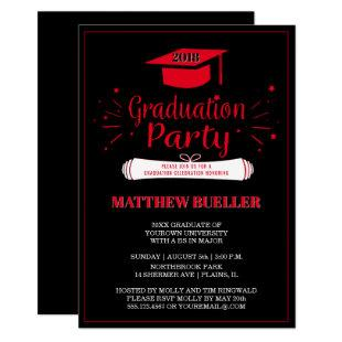 Class of 2018 Grad Cap Red Black Graduation Party Invitation