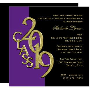 Class of 2019 Elegant Gold and Purple Invitation