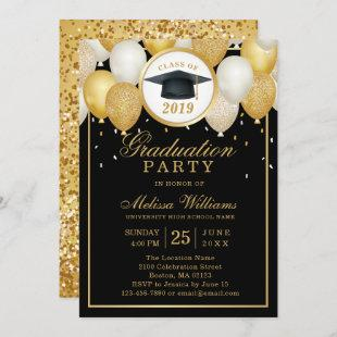 Class of 2019 Elegant Modern Black Gold Graduation Invitation