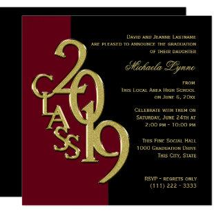 Class of 2019 Grad Burgundy and Gold Invitation