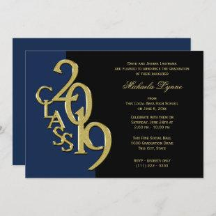 Class of 2019 Grad Gold with Color Option Invitation