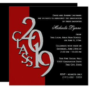 Class of 2019 Grad Red and Black Invitation