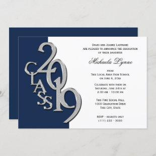 Class of 2019 Grad Silver and Navy Blue Invitation