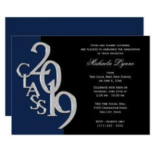 Class of 2019 Grad Silver with Color Option Invitation