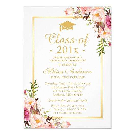 Class of 2019 Graduation Elegant Chic Floral Gold Invitation