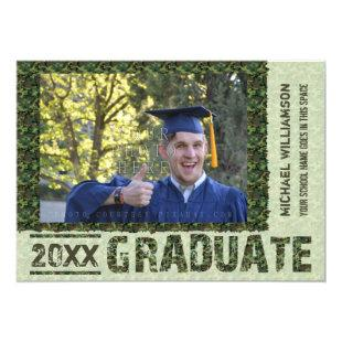 Class of 2019 Graduation Photo Camo Custom Party Invitation