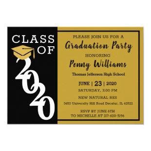 Class Of 2020 Black Gold Modern Graduation Party Invitation