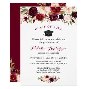 Class of 2020 Burgundy Red Floral Graduation Party Invitation