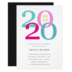 Class of 2020 Colorful Typography Graduation Party Invitation