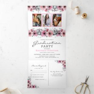 Class of 2020 | Floral 2 in 1 Graduation Party Tri-Fold Invitation
