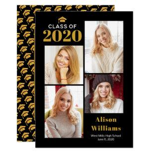Class of 2020 gold and black graduation cap party invitation