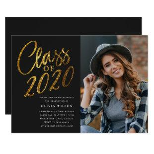 Class of 2020 Gold Black Graduation Party Photo Invitation