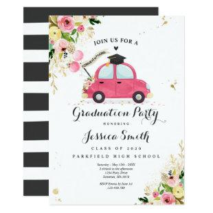 Class Of 2020 Gold Pink Floral Graduation Party Invitation