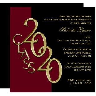 Class of 2020 Grad Burgundy and Gold Invitation