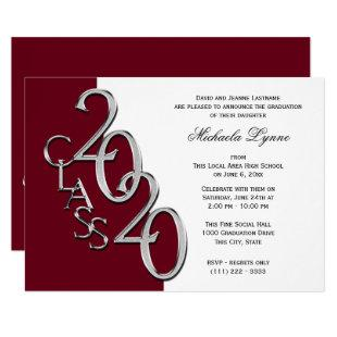 Class of 2020 Grad Silver and Burgundy Invitation