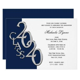 Class of 2020 Grad Silver and Navy Blue Invitation