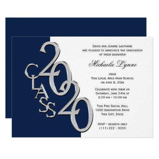 Class of 2020 Grad Silver with Color Option Invitation
