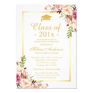 Class of 2020 Graduation Elegant Chic Floral Gold Invitation