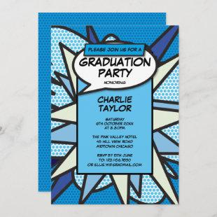 Class of 2020 Graduation Party Comic Fun Blue Invitation