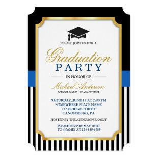 Class of 2020 Graduation Party Gold Ticket Stripes Invitation