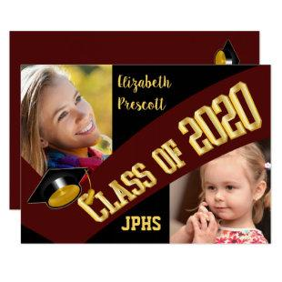 Class of 2020 Graduation Two Photo - Maroon Gold Invitation