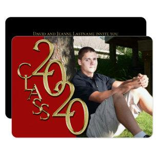 Class of 2020 Red Photo Graduation Invitation