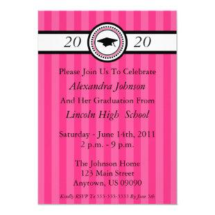 Class Of 2020 Stripes Graduation Invite (Hot Pink)