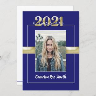 Class of 2021 Blue Gold Graduation Party Photo Invitation