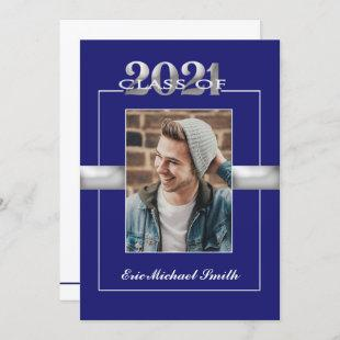 Class of 2021 Blue Silver Graduation Party Photo Invitation