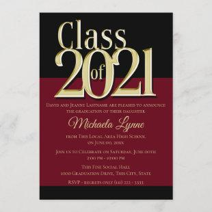 Class of 2021 Burgundy and Gold Grad Invitation