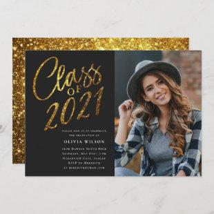 Class of 2021 Gold Black Graduation Party Photo Invitation