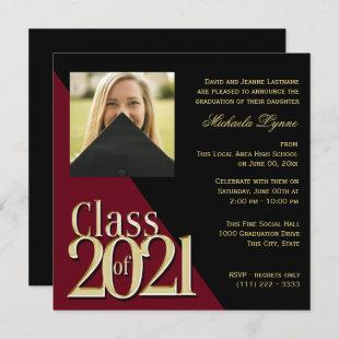 Class of 2021 Gold Grad Burgundy with Photo Invitation
