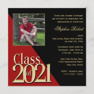 Class of 2021 Gold Grad Red and Black with Photo Invitation