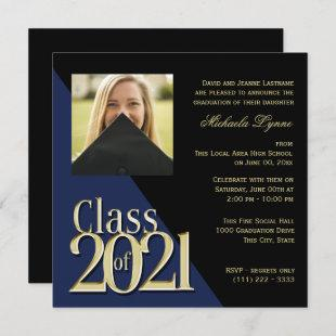 Class of 2021 Grad Gold and Blue with Photo Invitation