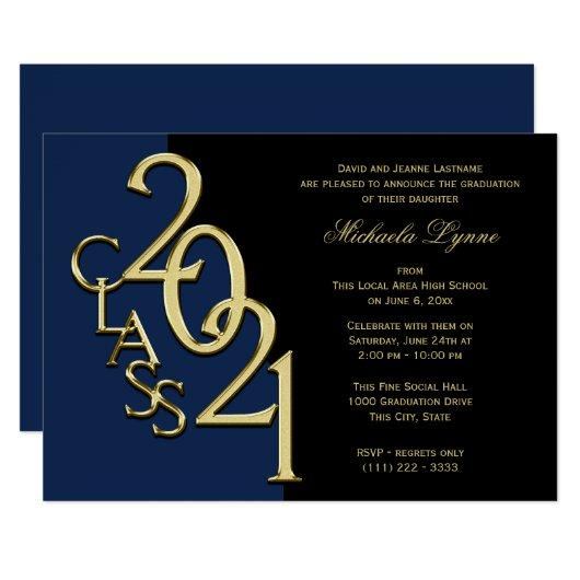 Class of 2021 Grad Gold with Color Option Invitation