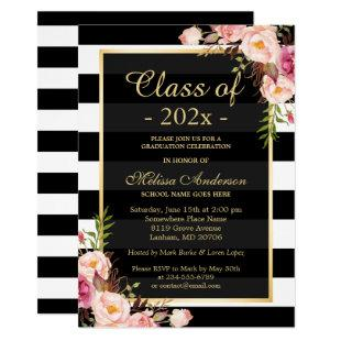 Class of 2021 Graduation Classy Floral Stripes Invitation