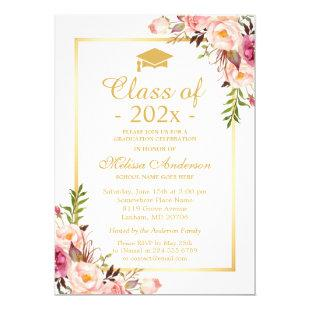 Class of 2021 Graduation Elegant Chic Floral Gold Invitation