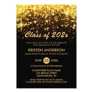 Class of 2021 Graduation Gold Glitter Glam Sparkle Invitation