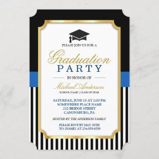 Class of 2021 Graduation Party Gold Ticket Stripes Invitation