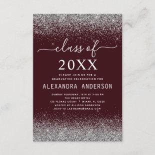 Class of 2021 Graduation Party Silver Burgundy Invitation