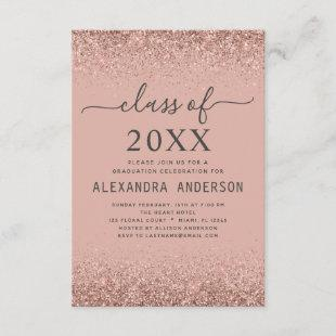 Class of 2021 Graduation Pink Rose Gold Glitter Invitation