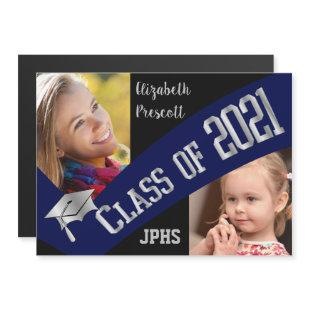 Class of 2021 Graduation Two Photo - Blue Silver Magnetic Invitation