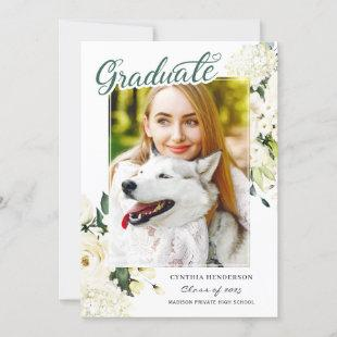 Class of 2021 Green White Rose Floral Graduation Announcement