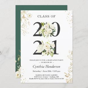 Class of 2021 Greenery Floral Graduation Party Invitation