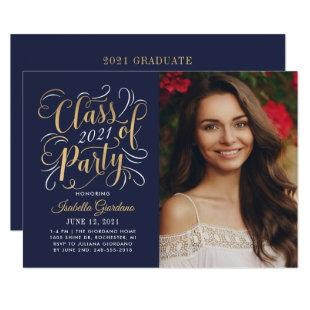 Class of 2021 Navy Gold Graduation Party Photo Invitation