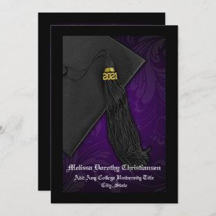 Class of 2021 Senior Purple Tassel Graduation Invitation