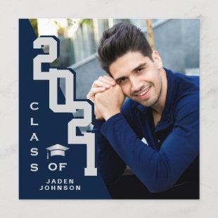 Class of 2021 Silver Blue PHOTO Graduation Party Invitation