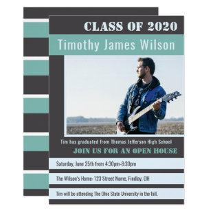Class of 20XX Modern Teal Grey Graduation Party Invitation